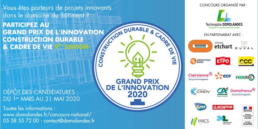 Grand Prix de l'Innovation Construction Durable & Cadre de Vie 2020